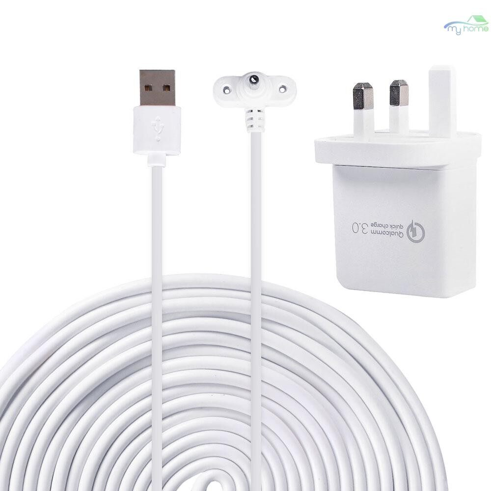Monitors - Weatherproof Outdoor Extension Power Adapter Charger Cable 6m/20ft for Ring Spotlight Cam - WHITE-6M