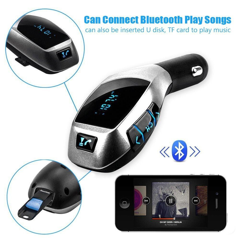 Car Radios - FM Transmitter Radio MP3 Player Hands-free Car Kit Adapter Charger Support TF - Electronics