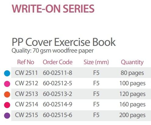 WRITE-ON CW2515 F5 200's PP COVER EXERCISE BOOK x 5pcs