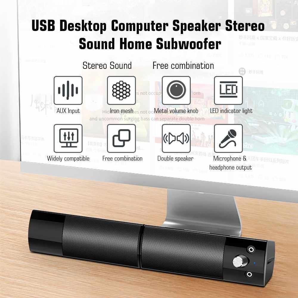 V-117 USB Desktop Computer Speaker Stereo Sound Home Subwoofer Mini Speaker with 3.5mm Audio Plug for DVD TV PC Laptop (Standard)
