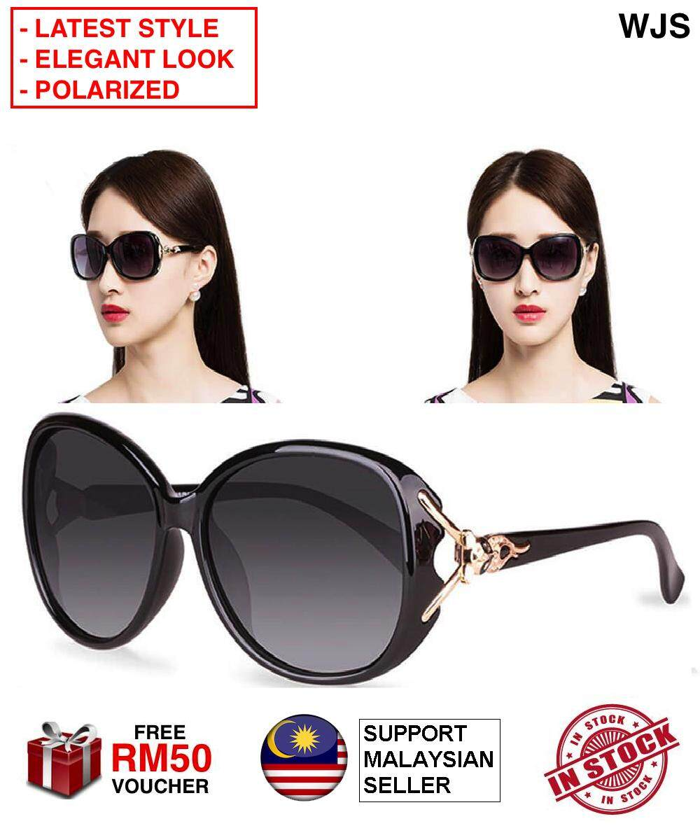 (SUPER TRENDY) WJS Women Sunglass Fox Style Sun Glass Big Lens Spectacles Women's Shades Oversized Polarized Polarised Fox Sunglasses 100% UV Protection Retro Classic Classy BLACK PINK [FREE RM50 VOUCHER]