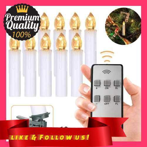 People\'s Choice 10 PCS Flameless Candles with Remote Control Realistic Warm White LED Candles Battery Powered Christmas Tree Flickering Taper Candle Lights with Clips for Wedding Party Decoration (White)