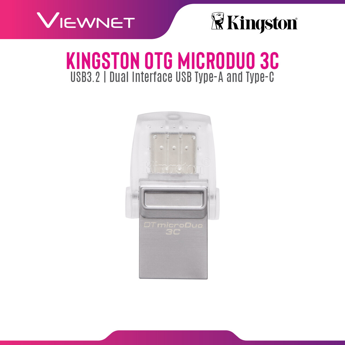 Kingston DataTraveler microDuo 3c USB Flash Drive (32GB / 64GB / 128GB) with Dual Interface for USB Type-A and USB Type-C, Plug and Play