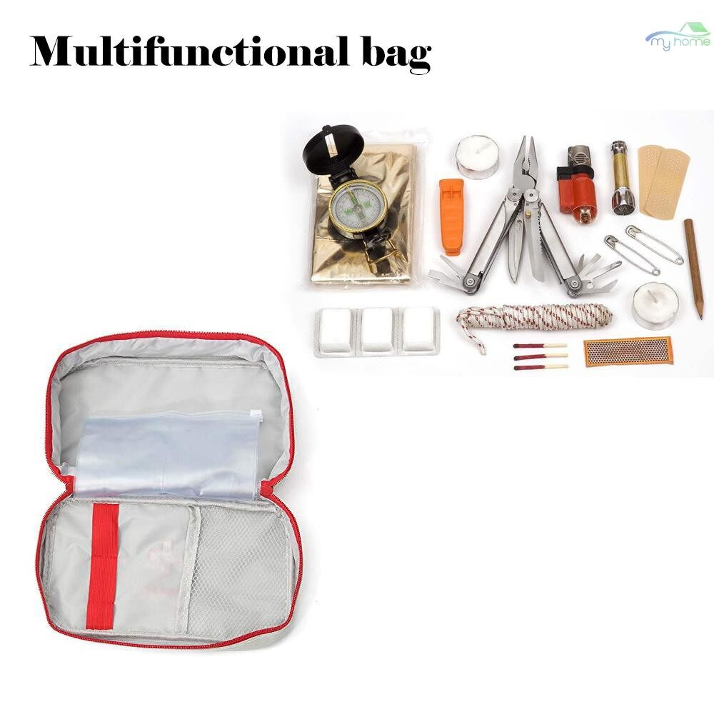 Security & Surveillance - First Aid Pouch Empty Bag for Home Emergency Travelling Camping Hiking Outdoors with Handle,Grey - GREY / RED