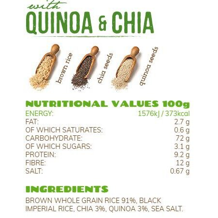 Rice Up Organic Rice Cakes With Chia & Quinoa 120G x2 - TWIN PACK