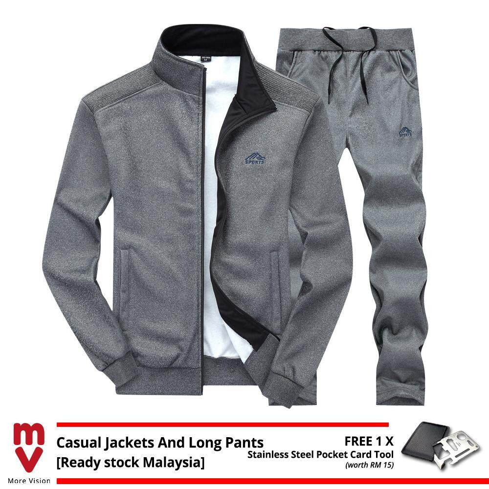 [Ready Stock] 2PCS Men's Casual Sports Jackets+Long Pants Set Comfortable New Fashion Style Top Clothing Shirt Jacket