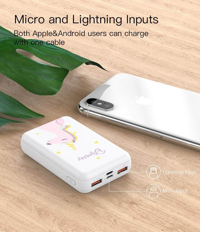 Yoobao P10W PowerWizard 10000mAh Ultra Compact Mini Portable Cute Animal Design Fast Charge Power Bank With Micro Lightning Input Dual USB Output