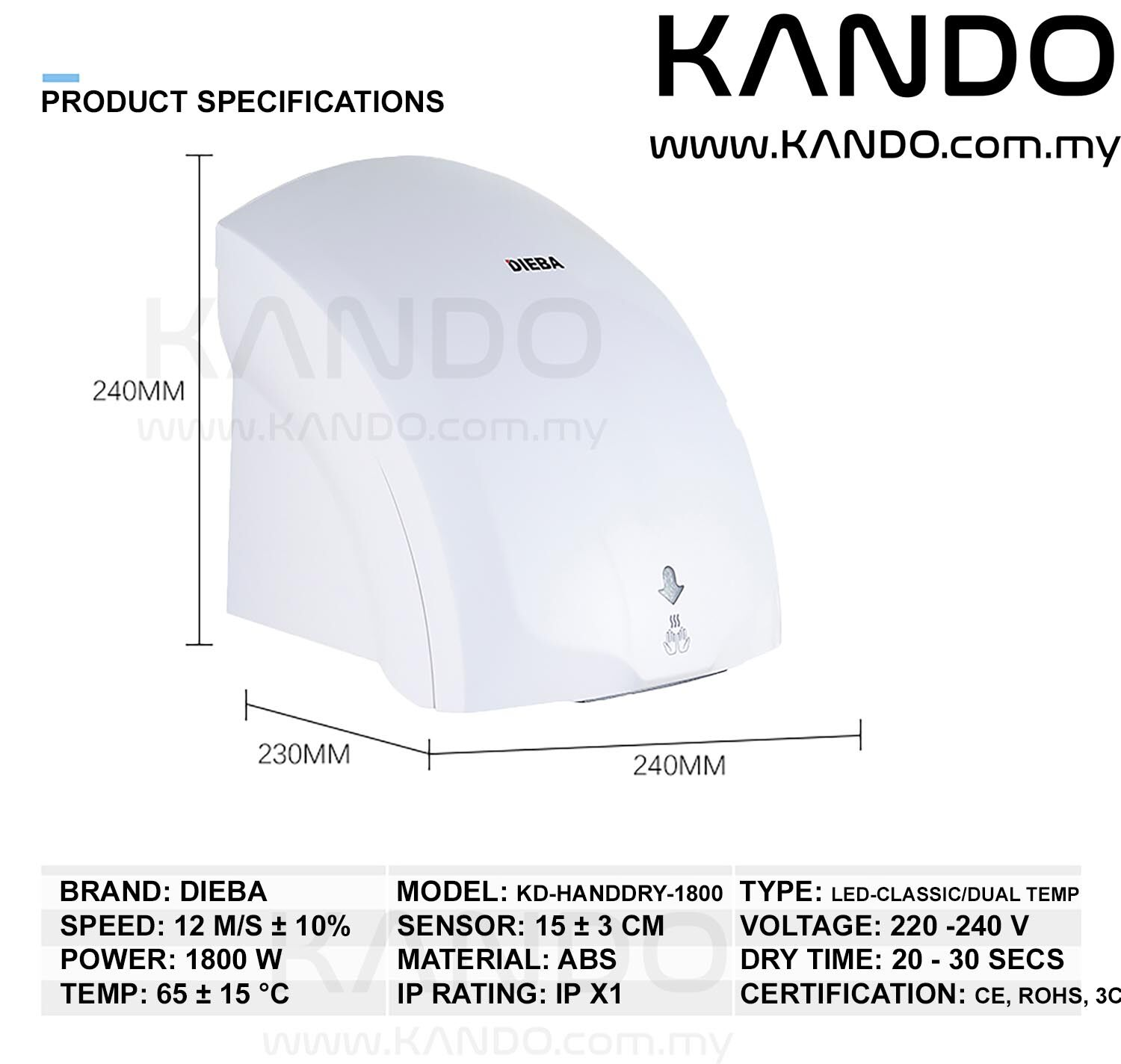 [MALAYSIA]Automatic Hand Dryer 2000W with LED Guide with Infrared Sensor Dual Temperature Air Drier Household Hand Drier LED Night Light Hand Dryer with LED Night Light Guide for Bathroom Kitchen Cinema Dark Environment LED Guide