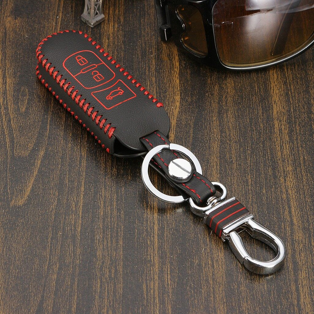 Car Accessories - 3 Buttons Leather Remote Key Holder Case Cover For Mazda3 BM Mazda6 GJ 2014-2016 - Automotive