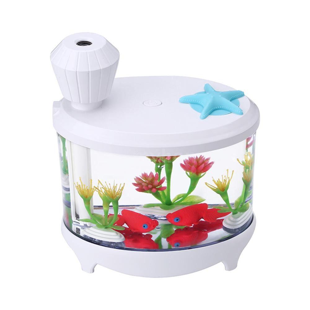 Humidifiers & Air Purifiers - Novel Fish Tank LED Night Light Household ULTRAsonic Air Humidifier Aquarium Small Cylinder Air - WHITE / LIGHT BLUE