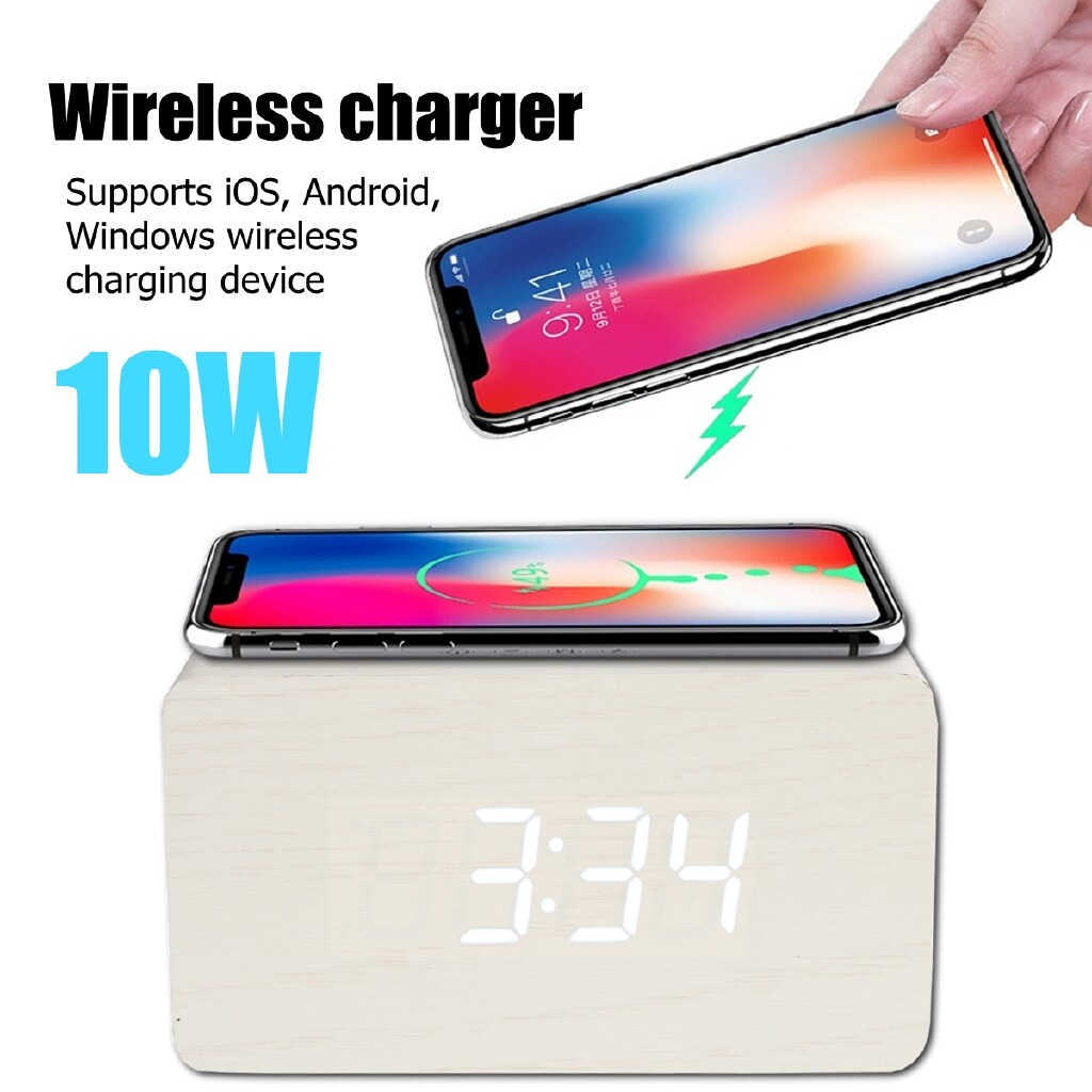 Clocks - 10W Qi Alarm WIRELESS Charger Clock Digital LED Desk Thermometer For iPhone 11/X - BLACK / SKIN / WHITE / BROWN
