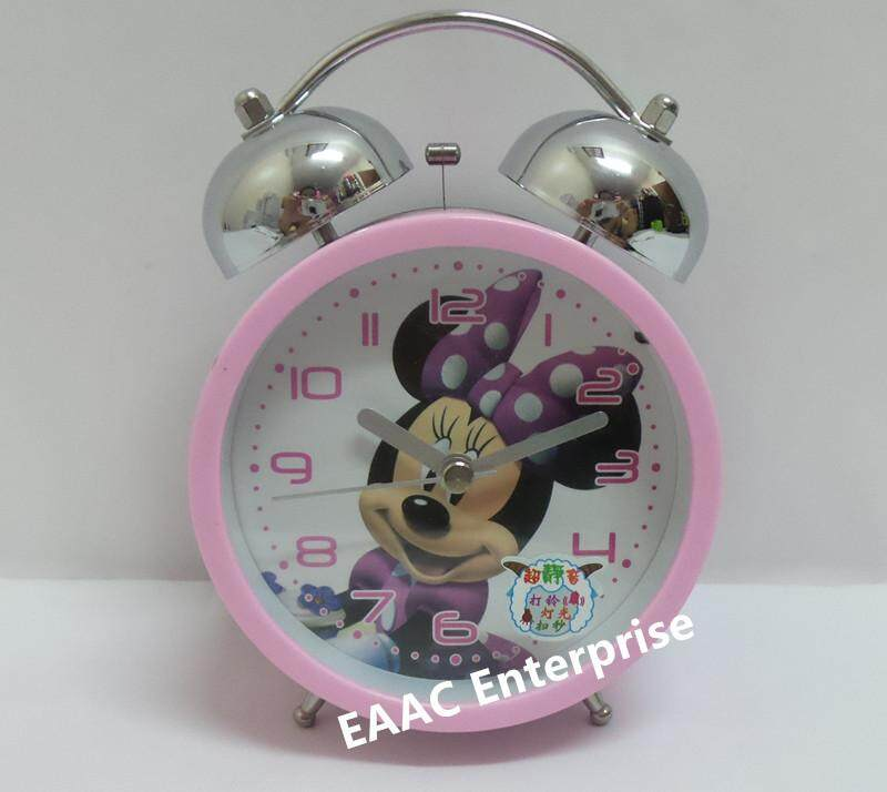Cute Cartoon Minnie Pink Twin Bell Alarm Clock for Kids 2