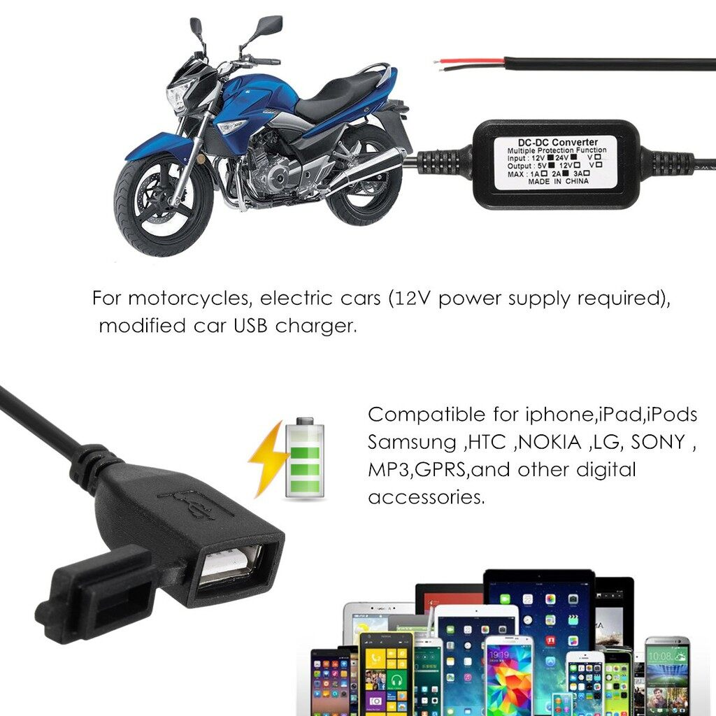 Chargers - Waterproof Motorcycle Accessory DC 12V to 5V USB Charger Power Adapter Converter - Cables