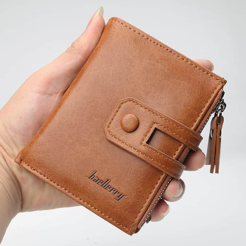 [M'sia Warehouse Direct] 2019 Korean Series Men's Fashion Fengshui Wallet With Side-Clip Button Perfect Gift (Come With Box) Clutch Card Coins Cash Slot With Zip Portable Hand Carry Vertical Bag Luxury Top Material Genuine Leather Halal Dompet Kulit