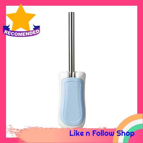 Wall-mounted Toilet Brush Set Stainless Steel Handle with Base Holder Toilet Cleaning Brushes Tool Bathroom Accessories (Blue)