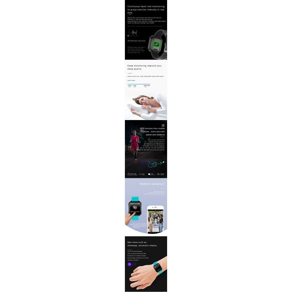 Smart Watch - H20 Heart Rate Blood Pressure Oxygen Monitor Long Standby Intelligent Message - GREY / PURPLE / PINK / GREEN / BLACK