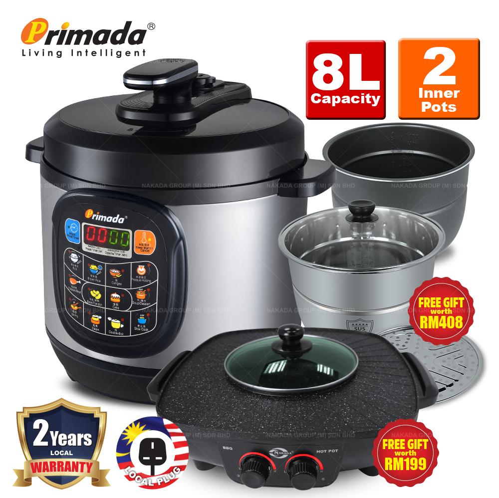 Primada 8 Liter Jumbo Pressure Cooker PC8030 + FREE MARBLE SET/ELECTRIC MULTICOOKER/2 SS POTS/BBQ STEAMBOAT POT PC8030 FREE FG046