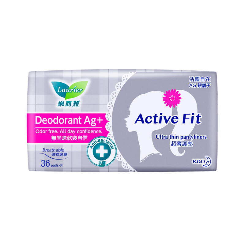 Laurier Active Fit Deodorant Ag+ Anti-Bacterial Pantyliners (36's)
