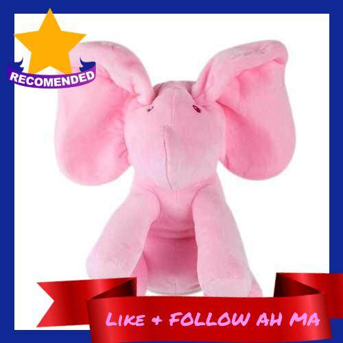 Best Selling Electric Adorable Small Elephant Animated Flappy Push Doll Kids Present (Pink)