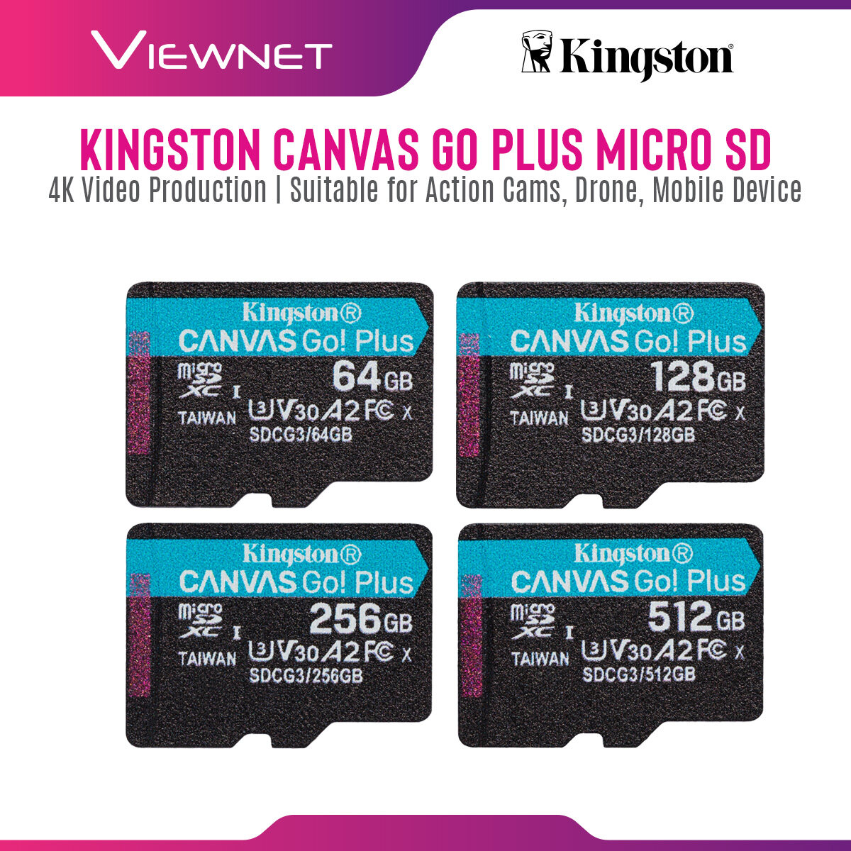 Kingston Canvas Go Plus Micro SD SDCG3 Series (64GB / 128GB / 256GB / 512GB) with 4K Video Production, Suitable for Action Cams, Drones and Mobile Device