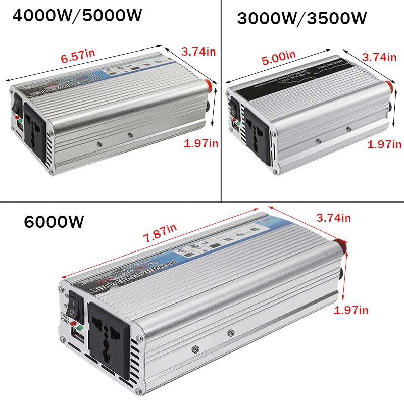 Sensors & Alarms - Car Solar Power Inverter DC12V to AC Sine Wave 3000/3500/4000/5000/6000W - C / E / B / D / A