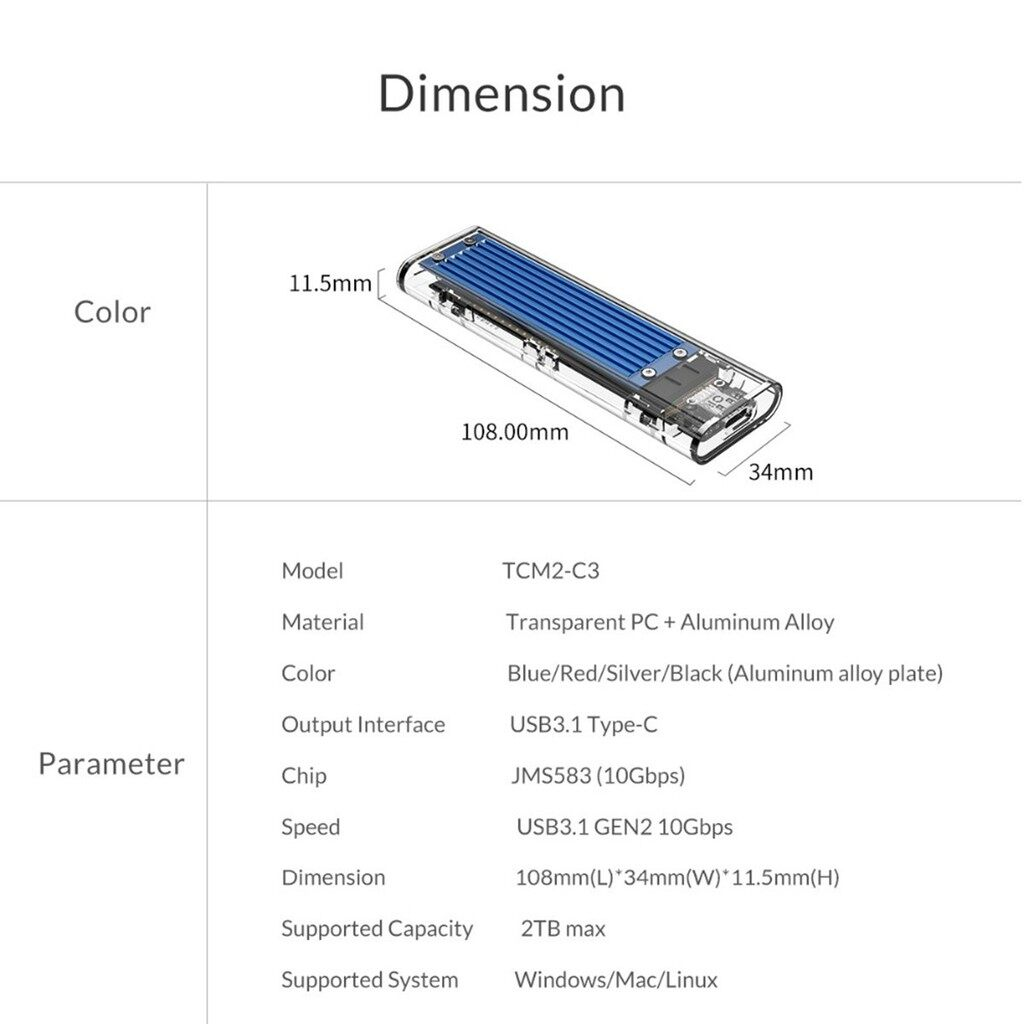 Mobile Cable & Chargers - ORICO Transparent USB3.1 Gen2 Type-c M.2 NVME SSD HDD - GRAY / BLUE / RED / BLACK