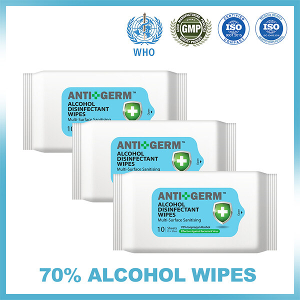 Alcohol Sanitizing Wipes, 70% IPA, 10s x 3 packs.