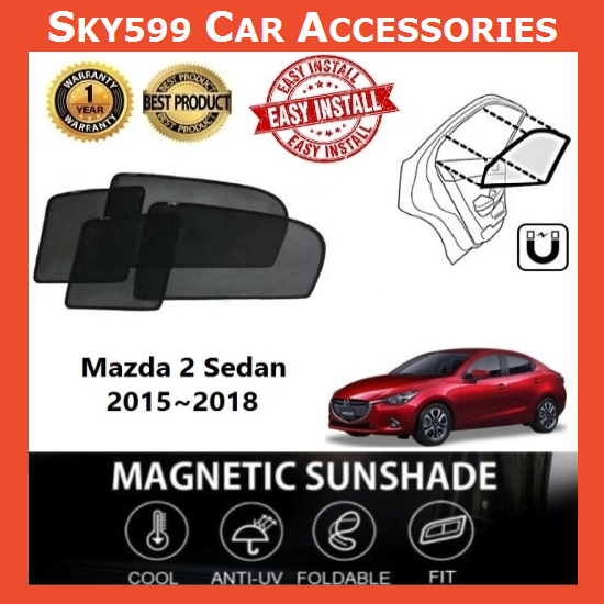 Mazda 2 Sedan 2015-2018 Magnetic Sunshade [4 PCS]
