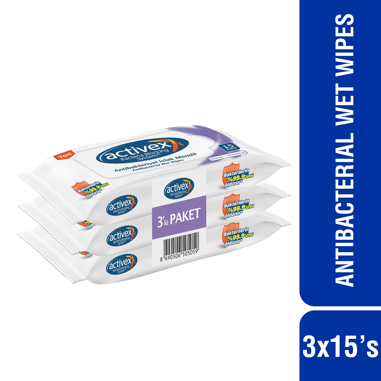 Activex Antibacterial Wet Wipes Sensitive Skin (15's x 3)