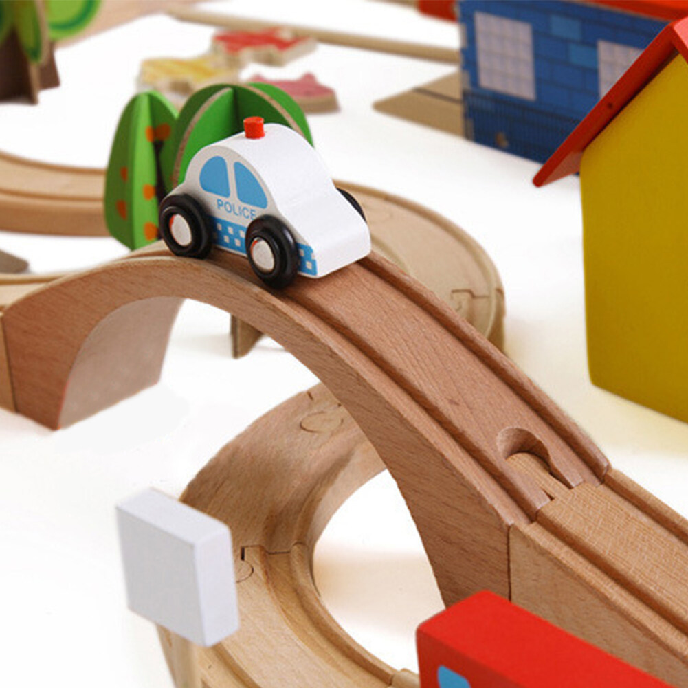 Wooden DIY Railway Track Train Puzzle Building Blocks Toys for Kids as Xmas Gifts