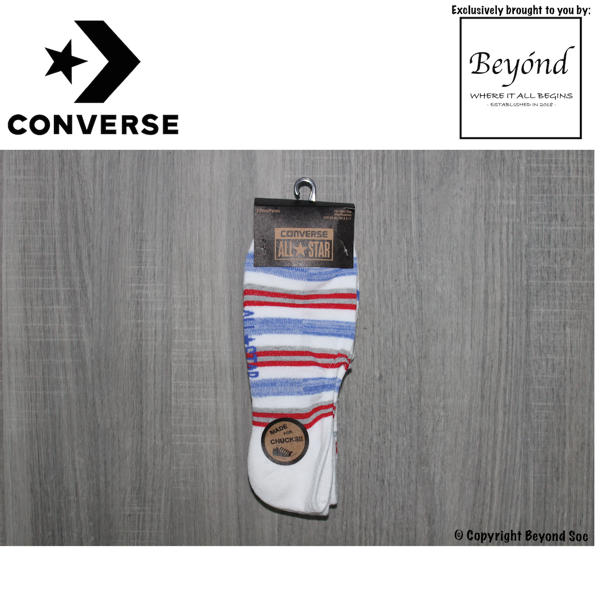 [3 Pairs] Converse Men's Lurex Star Made For Chucks 3-Pack No Show Socks (Size: UK 8.5 - 11)