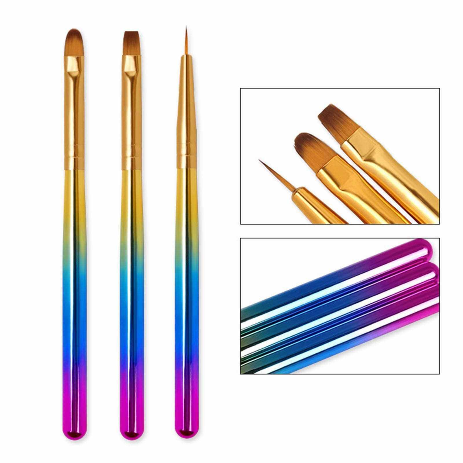 Best Selling 3Pcs/Set Nail Art Brush Painting Drawing Carving Pen Crystal Liner Dotting Acrylic Builder UV Gel Painting Drawing Brush Manicure Tool (Standard)