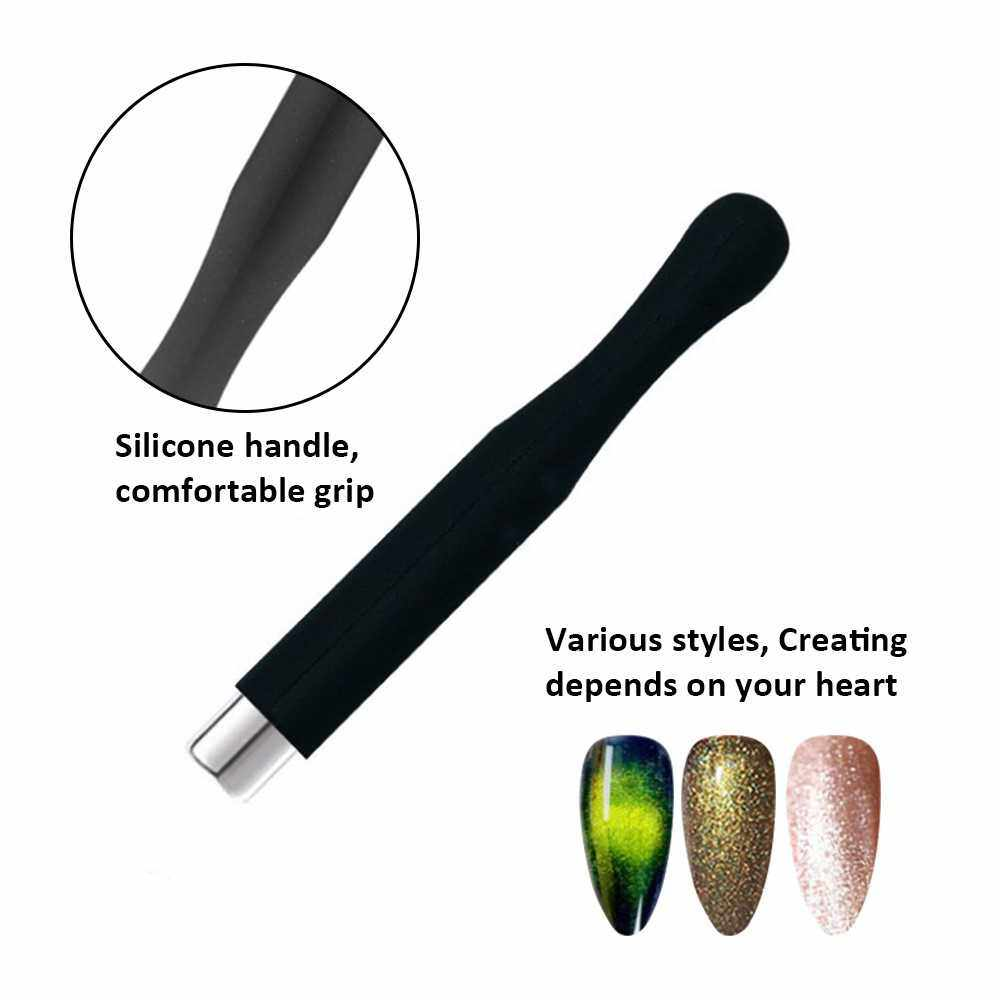 Strong Magnetic Nail Stick 3D Cat Eye Effect Magnet for UV Painting Gel Nail Polish UV Lamp for Gel Varnish Nail Art Tool Yellow Silicone Sleeve Cylindrical Magnet (Yellow)