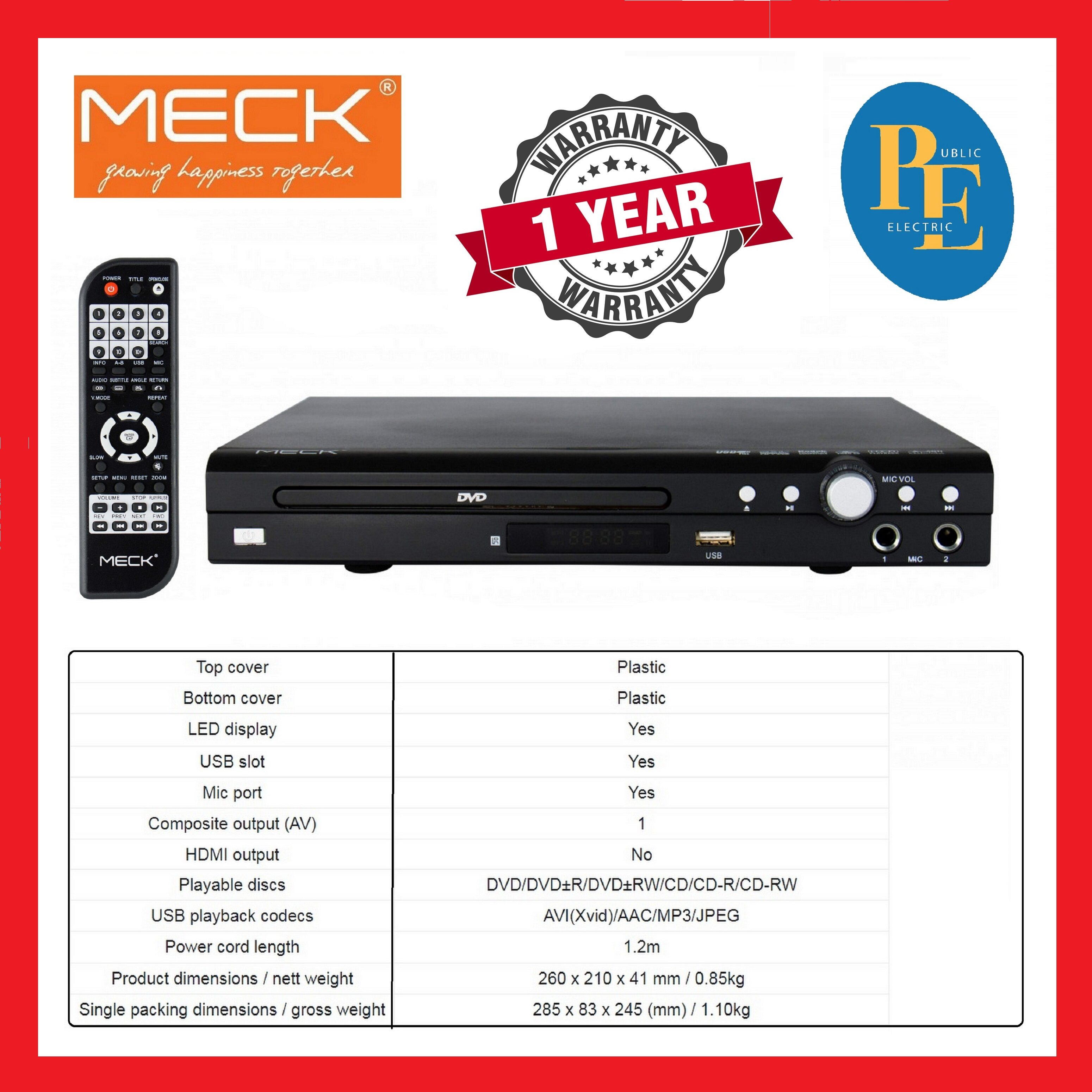 Meck DVD Player Compatible With MPEG4/MPEG2 - DVD-28FL