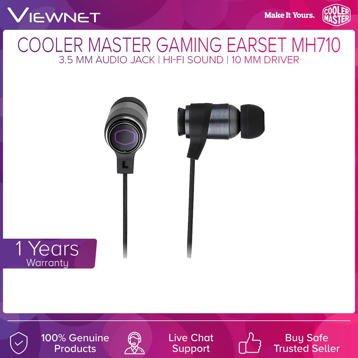 Cooler Master MH710 In-Ear Gaming Headphones with Focus FX 2.0 Technology (MH-710)