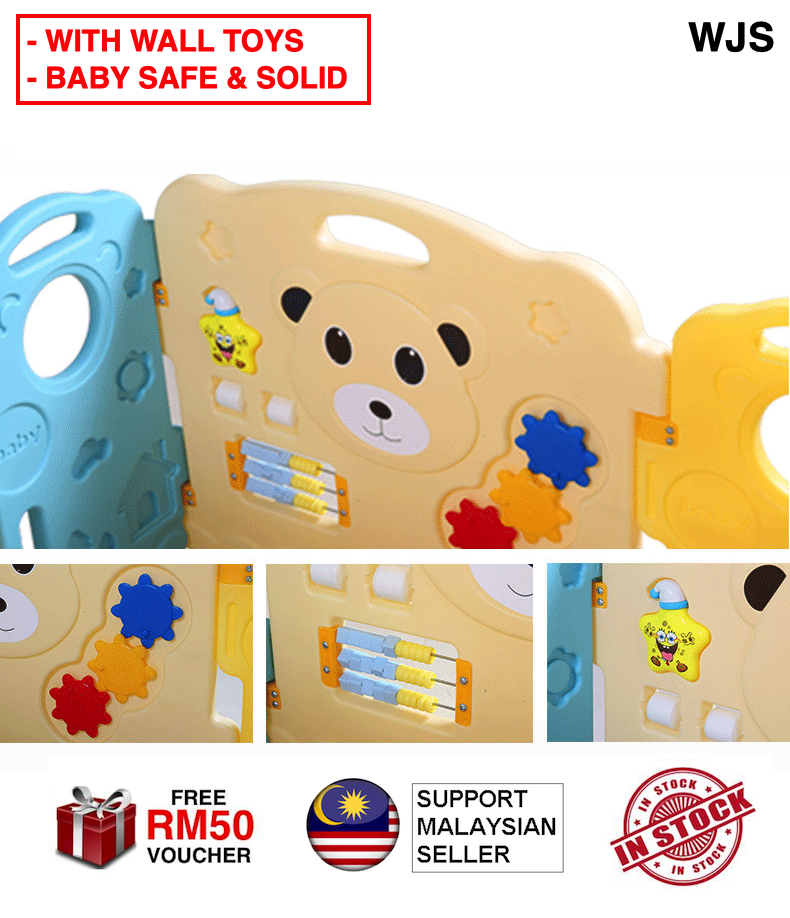 (WITH WALL TOYS) WJS Extra Safe Home Indoor Polar Bear Design Premium Quality 10/12/14/16/18/20 Panels Baby Play Yard Playpen Baby Kid Safety Play Fence Fencing Zone Play Area Playmat MULTICOLOR [FREE RM 50 VOUCHER]