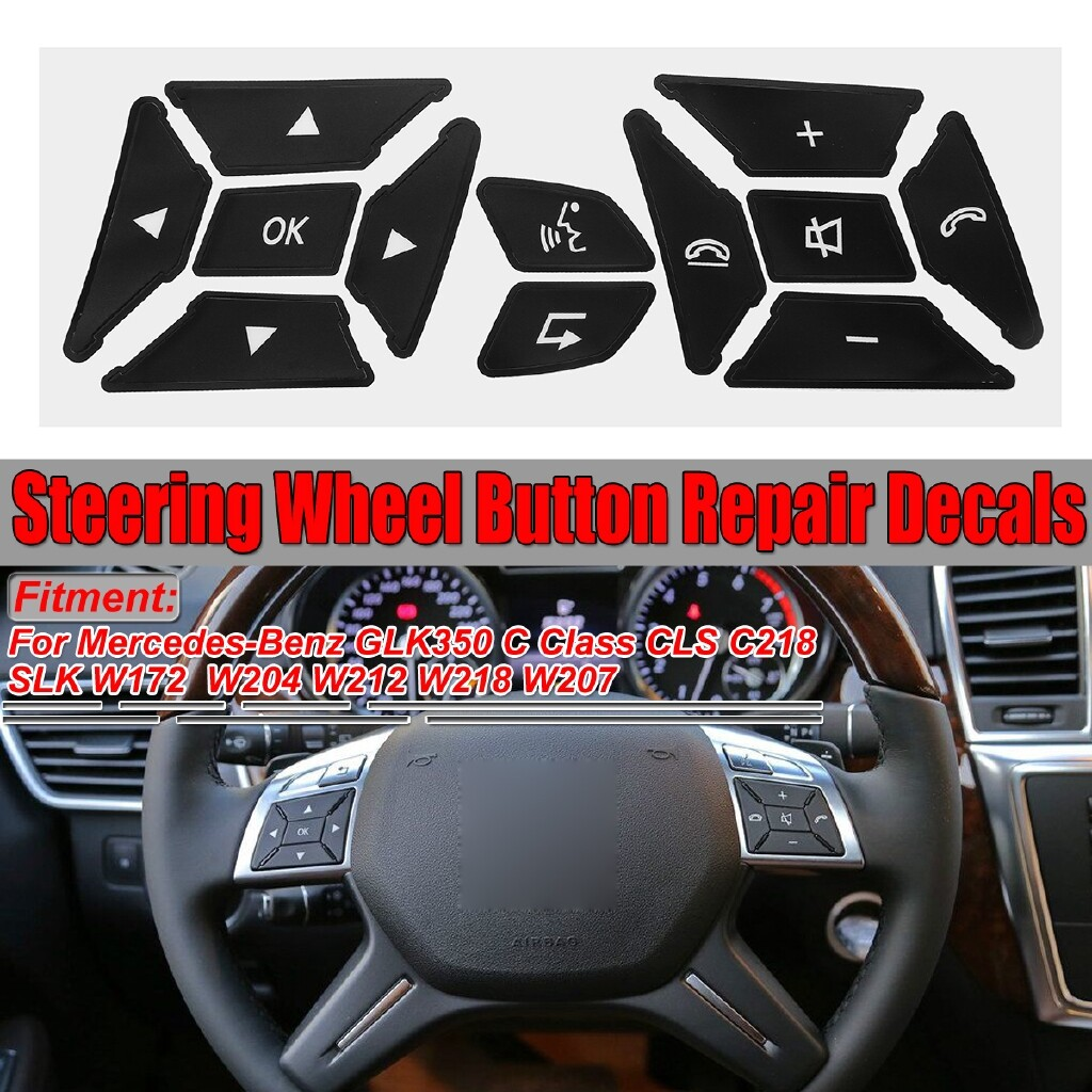 Car Stickers - Worn Peeling Steering Wheel Button Repair Decals Stickers for Mercedes Benz V3 - Accessories