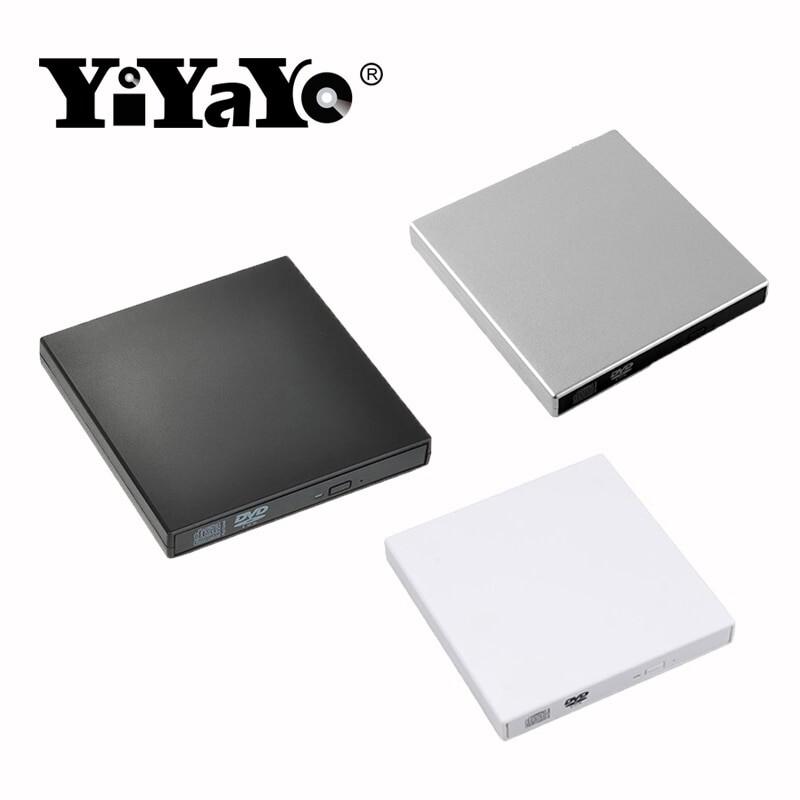 External DVD ROM Optical Drive USB 2.0 CD/DVD-ROM CD-RW Player Slim Reader - BLACK / SILVER / WHITE