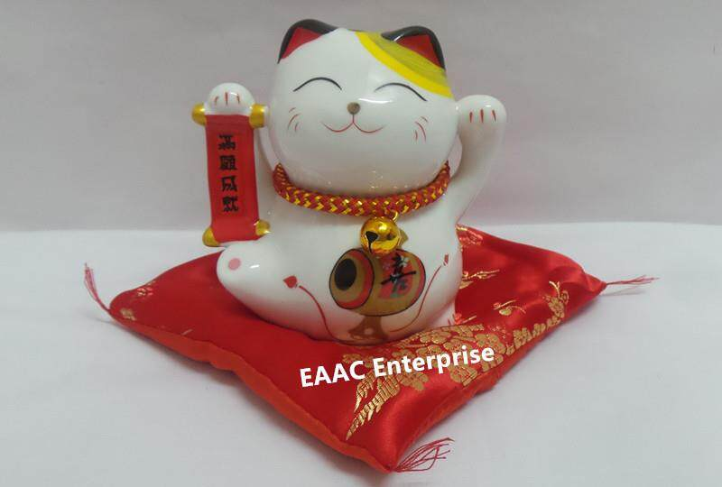 Ceramic Quality 4  Lucky Fortune Cat Saving Box Bank +Red Cushion