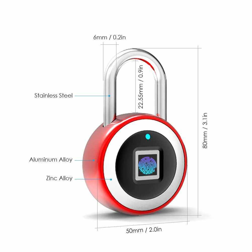 People's Choice Smart BT Fingerprint Padlock Unlocking by Fingerprint & APP Rechargeable Keyless 10 Fingerprints IP65 Waterproof Anti-Theft Security Padlock Door Luggage Case Lock (Red)