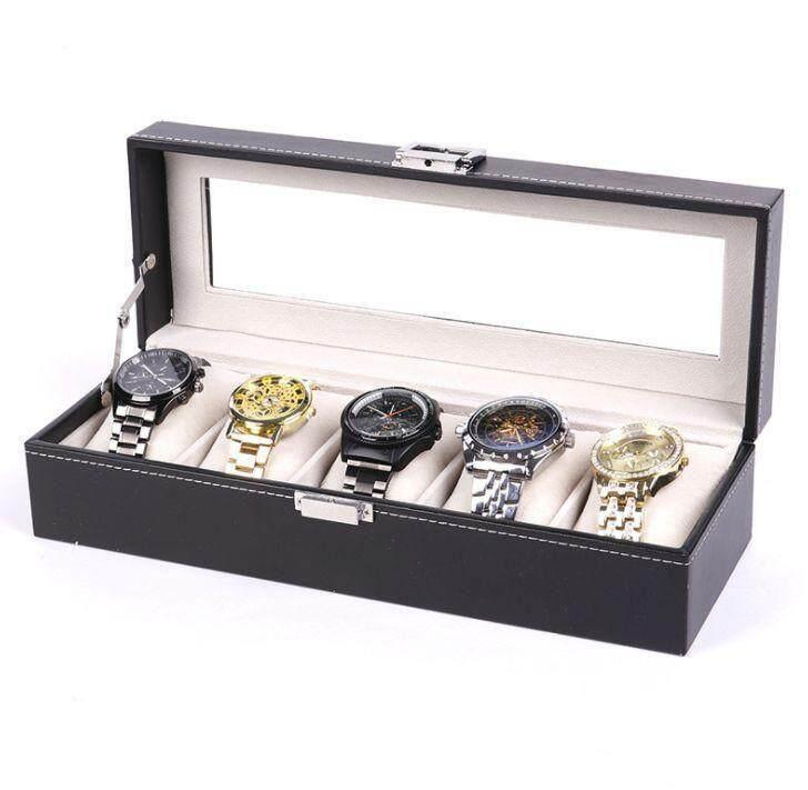 5 Slots PVC Black Watch Jewelry Storage Box Kotak Jam (Starzdeals.my)