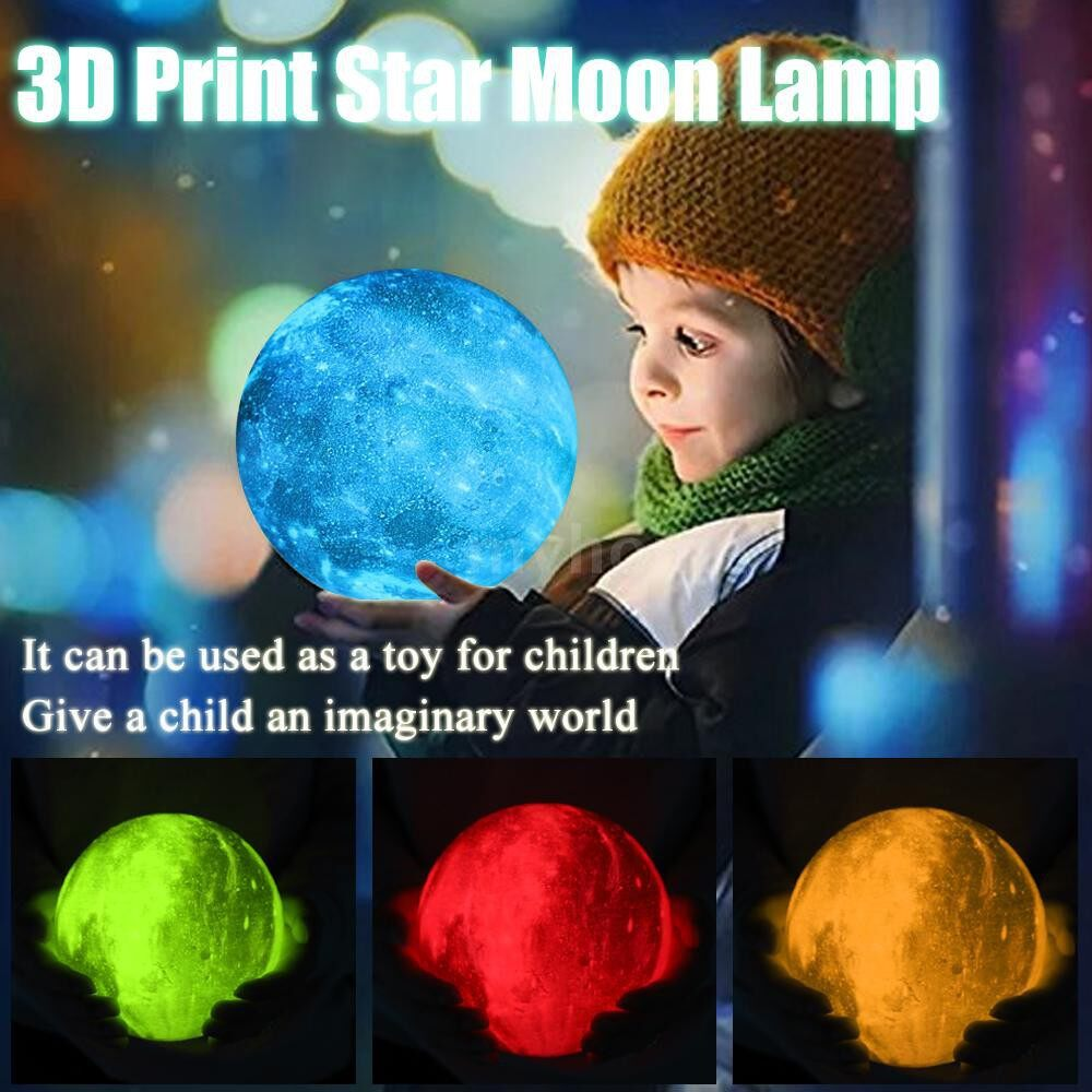 Lighting - 3D Print Star Moon Lamp Colorful Change Home Decor Creative Gift USB Rechargeable LED Night Light - 4 / 3 / 2 / 1