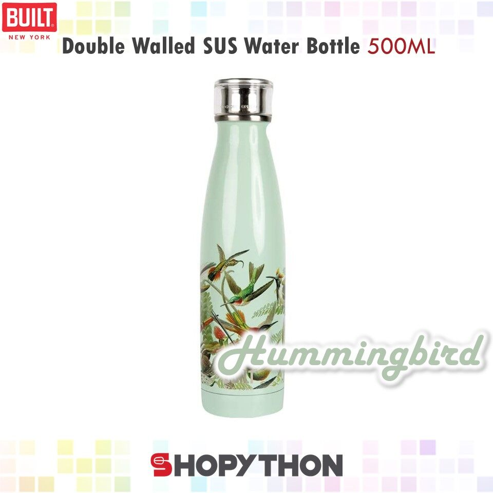 BUILT NY V&A Double Walled Stainless Steel Water Bottle 500ml (Hummingbird) Thermal Flask Insulated Hot Cold Drinks Perfect Seal Technology Leakproof
