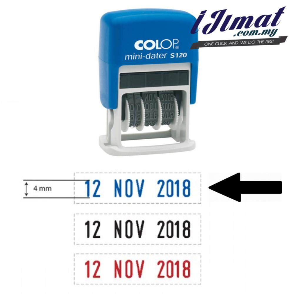 COLOP Mini Dater S120 Self Ink Mini-Dater Pre Ink date stamp (Blue Ink, Black Ink, Red Ink) Self Inking Date Chop