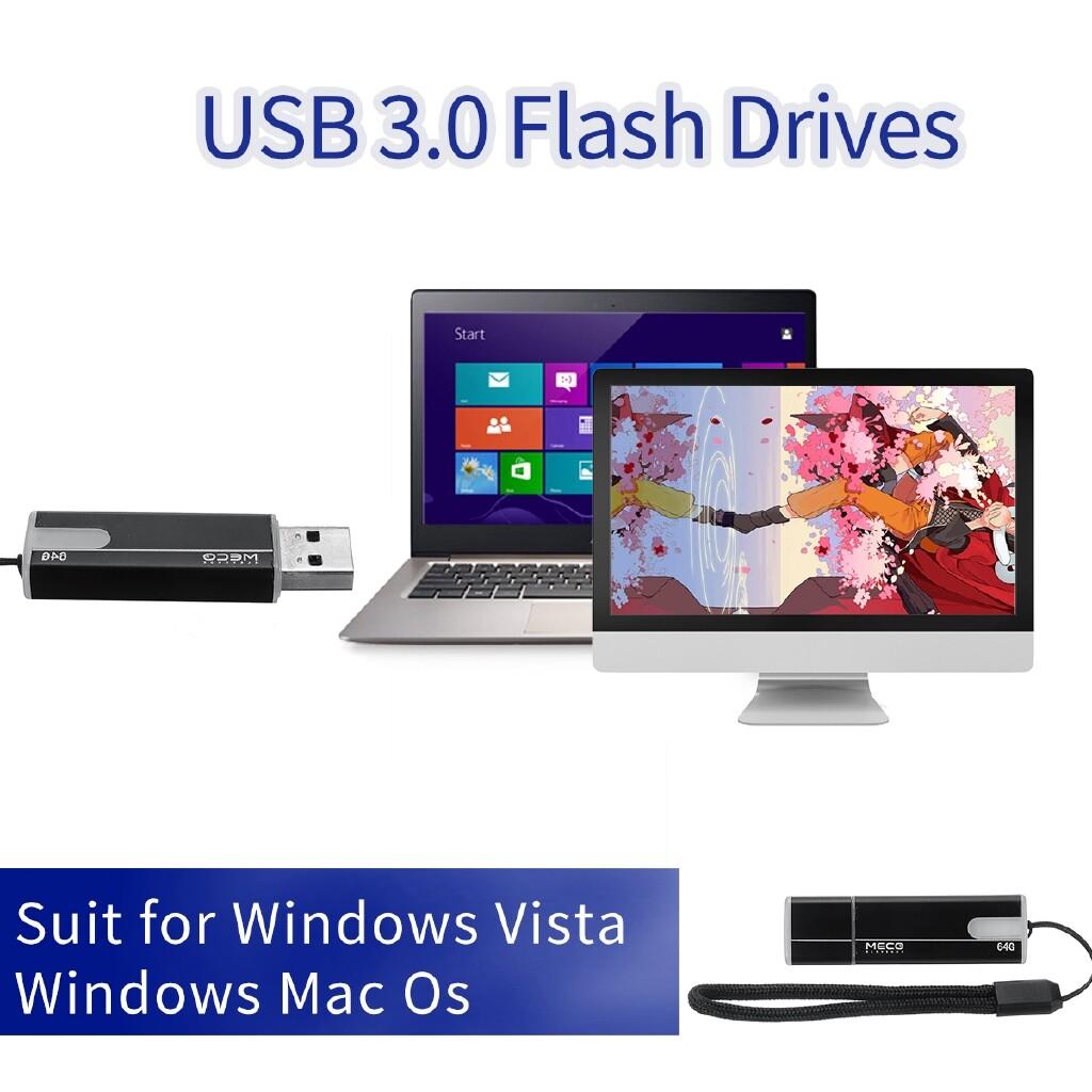 OTG USB - USB 3.0 Flash Drive Pen Memory Stick 64/128GB U Disk Storage Gift Idea Black - 64GB / 128GB