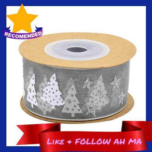 Best Selling Cross-border new hot stamping ribbon five-pointed star holiday decoration gift packaging high-grade printed Christmas tree band 5 meters Gray (Gray)