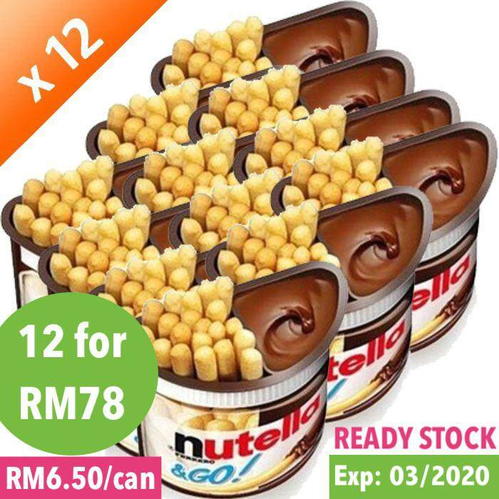 Nutella & Go (12 Cans) Exp: 03/2020 Chocolate Hazelnut Spread + Breadstick (48g/can) Coklat Nutella Go Hazelnut Spread With Cocoa Kids Snack Chocolate Nutella By Ferrero