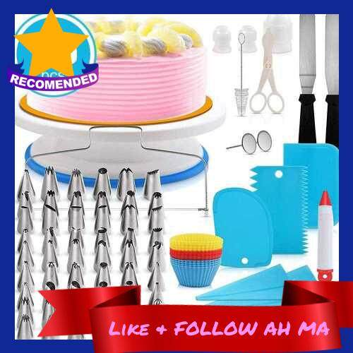 Best Selling CakeDecor Stainless Steel Cake Decorating Supplies Cake Turntable 106PCS/Set DIY Cream Tools (Blue)