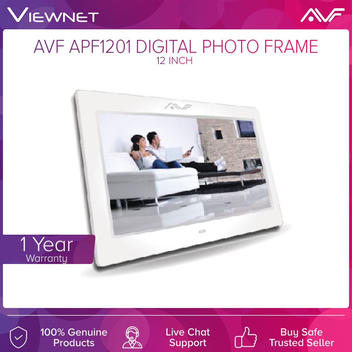 AVF APF1201 Digital Photo Frame with 12 Inch Screen, Built-In Speaker, 3.5mm Audio Output, USB Slot, Memory Card Slot