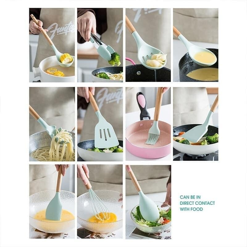 NEW ARRIVAL 12pcs Silicone Kitchen Cooking Utensil Set with Holder Wooden Handles Cooking Tool 12